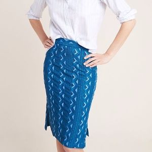 Anthropologie Sienna Embroidered Pencil Skirt